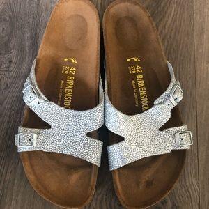 Birkenstock Iridescent Silver Slide Sandal Size 11